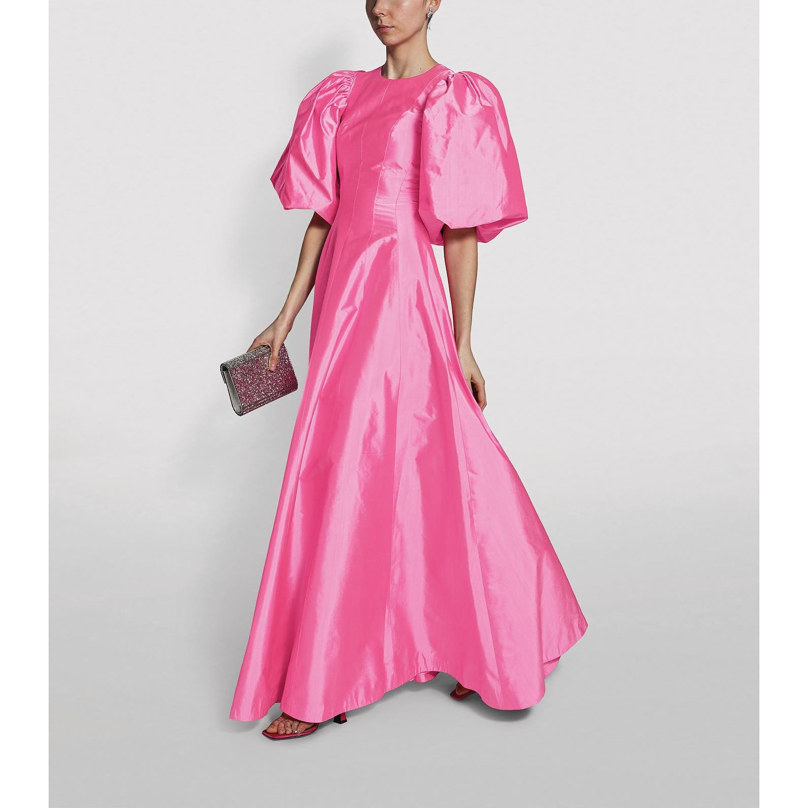 Rasario Puff-Sleeved Silk Gown