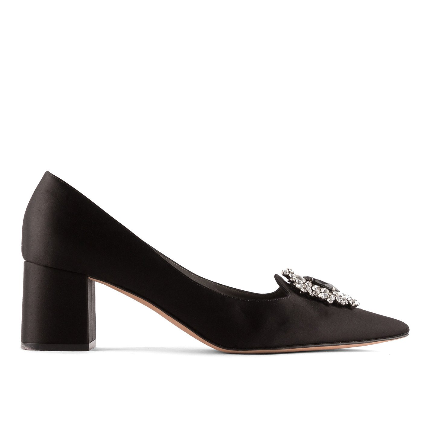 Gina Crystal-Embellished Satin Block Heels