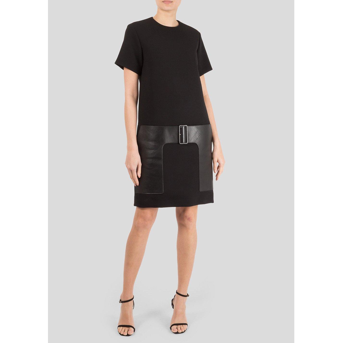 CÉLINE Leather-Trimmed Wool Dress