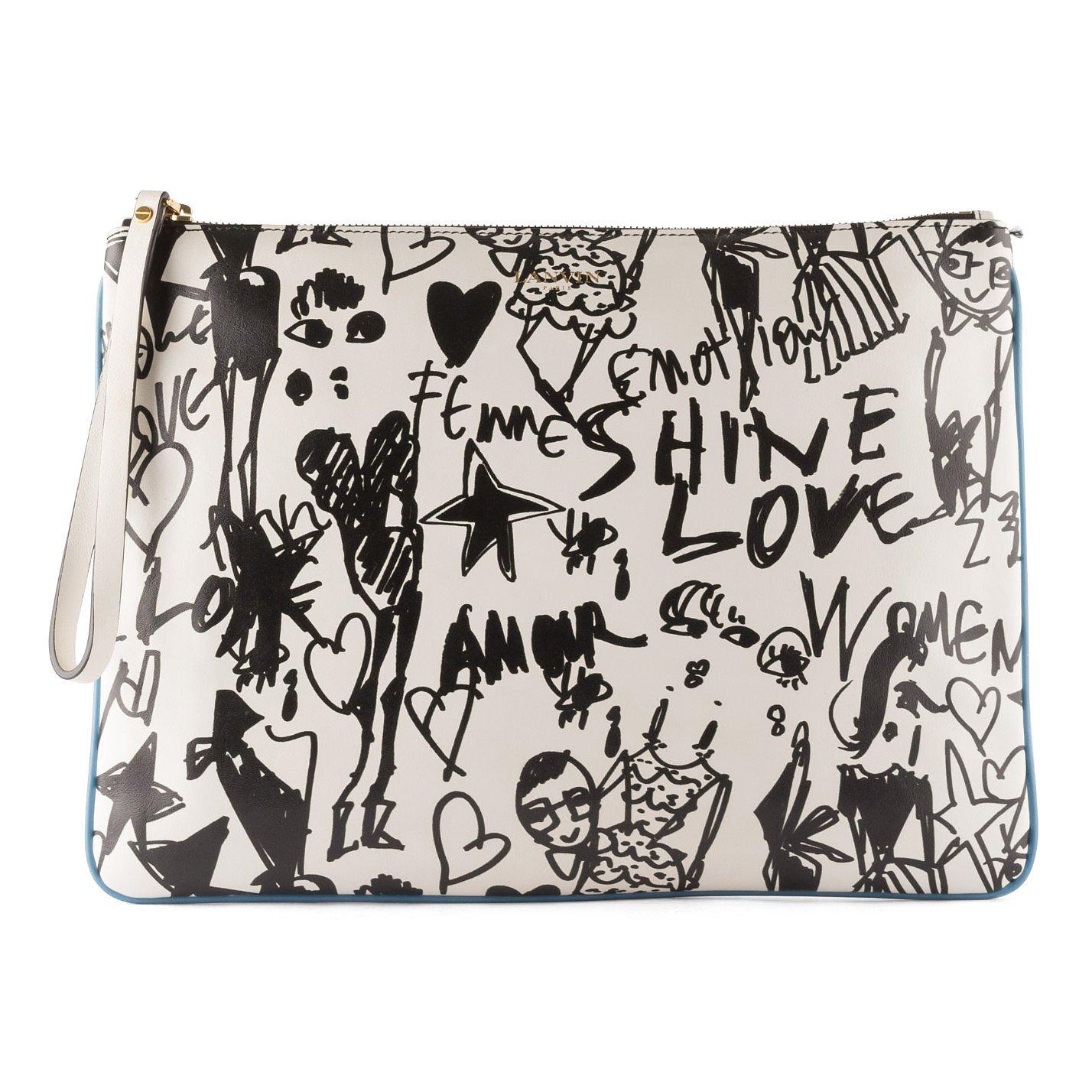 Lanvin Graffiti Print Leather Clutch