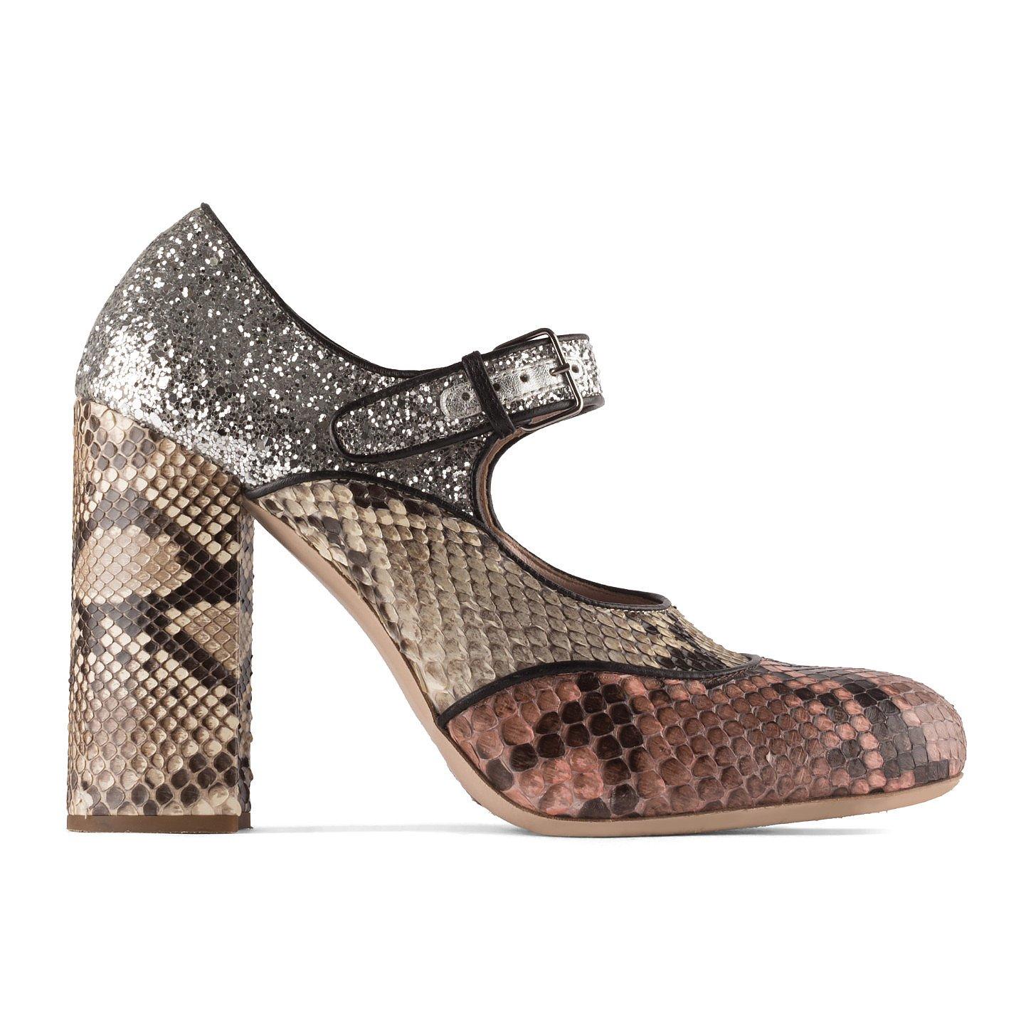 Miu Miu Snakeskin and Glitter Shoes