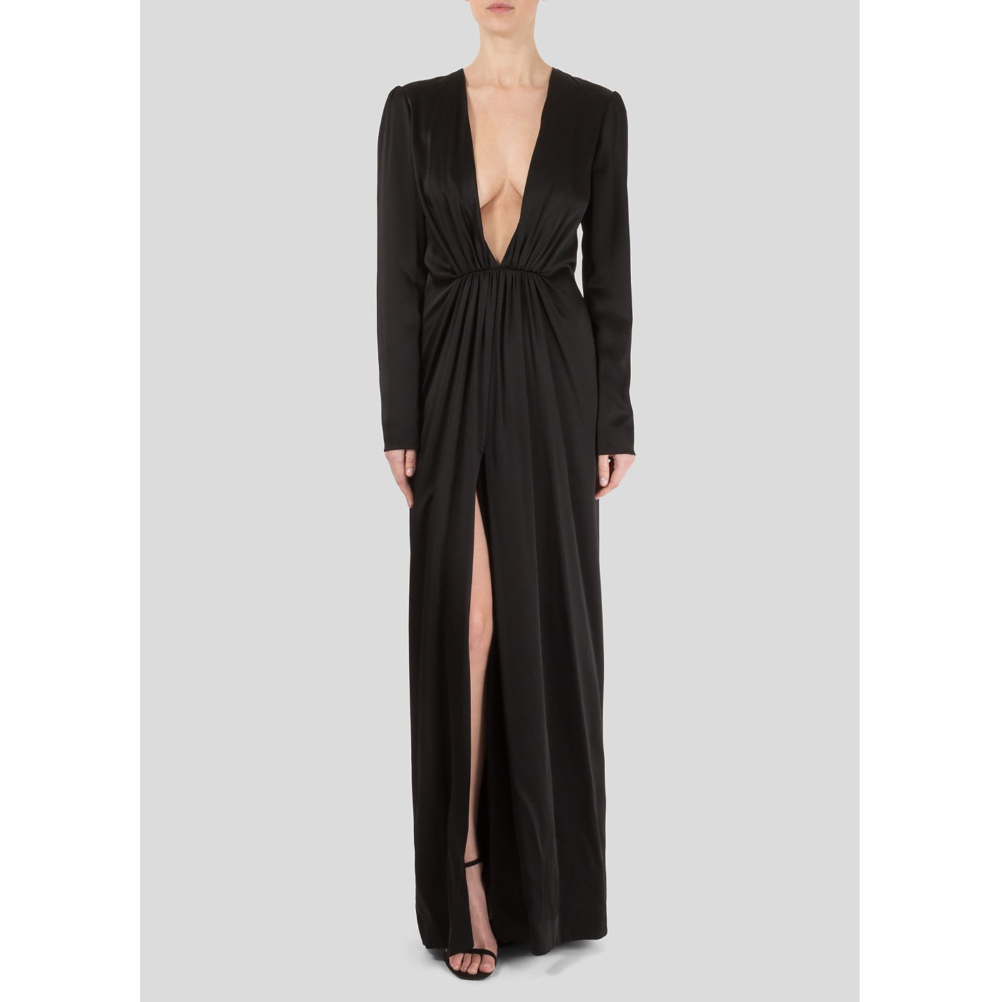 Saint Laurent Plunging V-Neck Gown