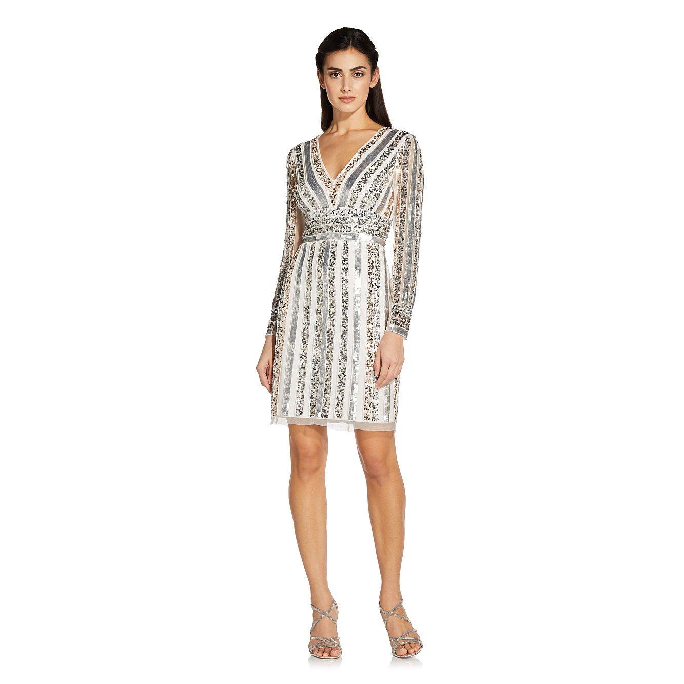 Adrianna Papell Stripe Bead Sheath Dress In Silver/Ivory