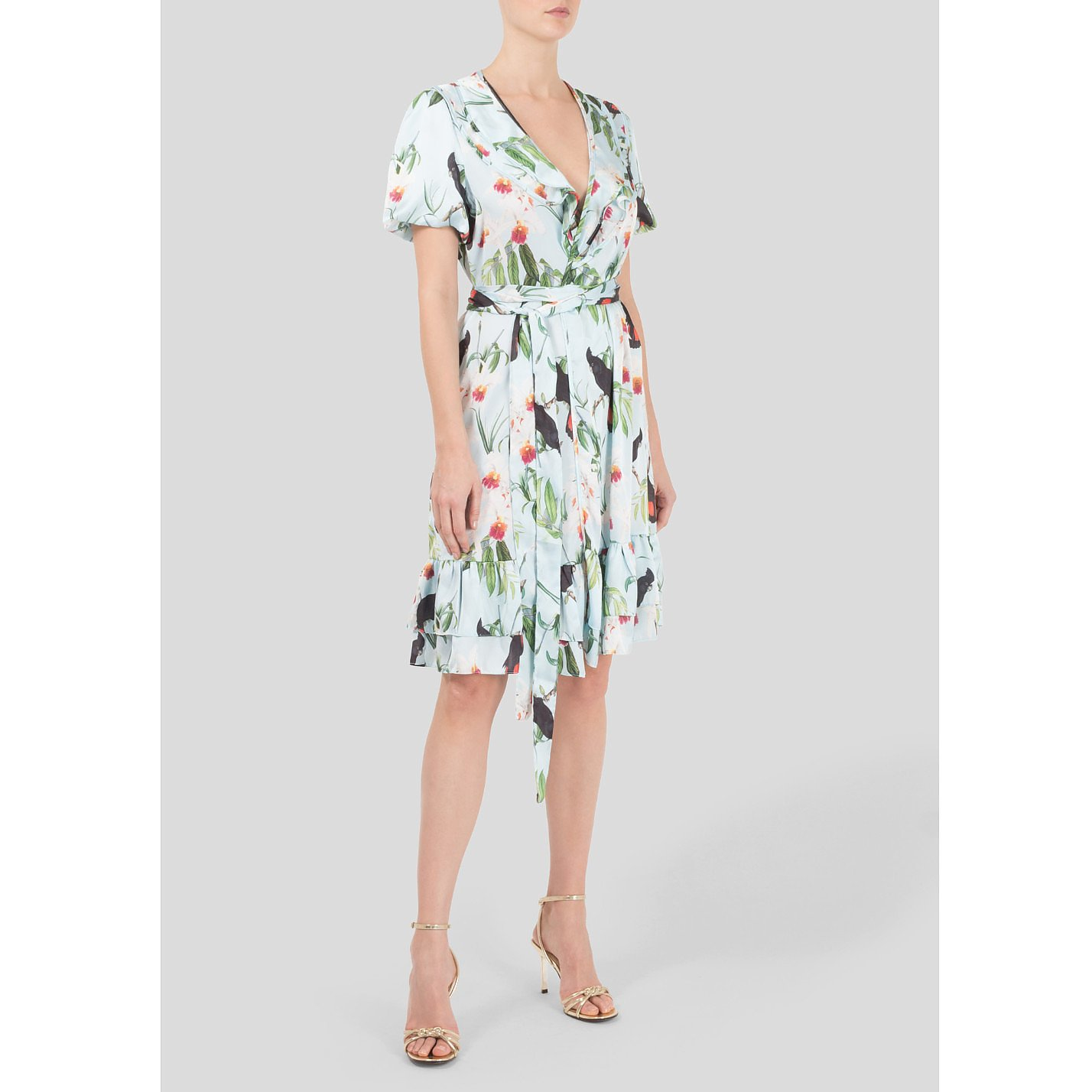 The Latin Runway Orchid Print Wrap Dress