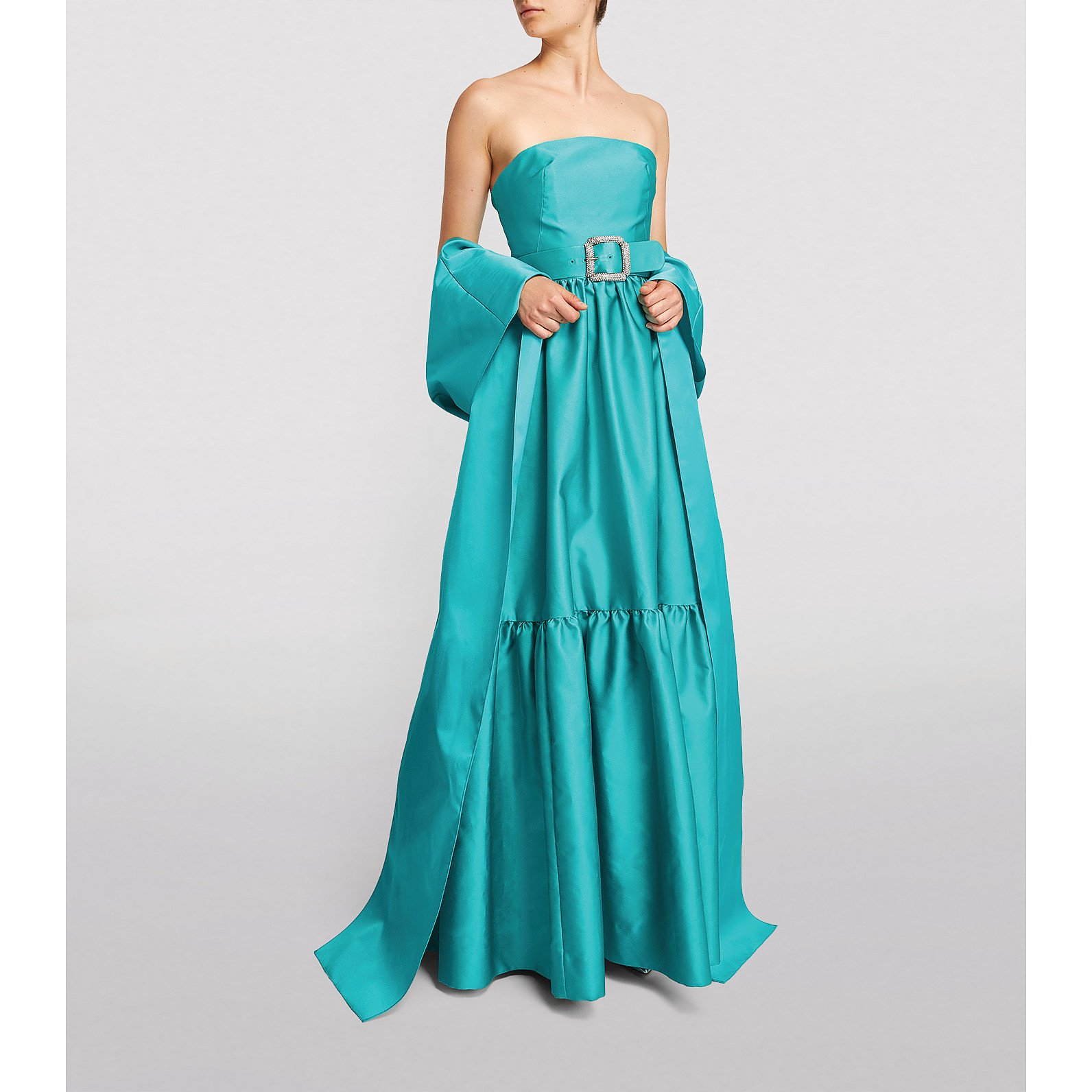 Monique Lhuillier Sateen Belted Strapless Gown