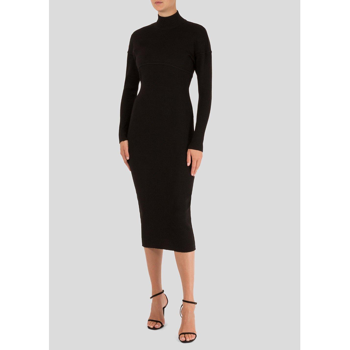 Alaïa High Neck Midi Knit Dress