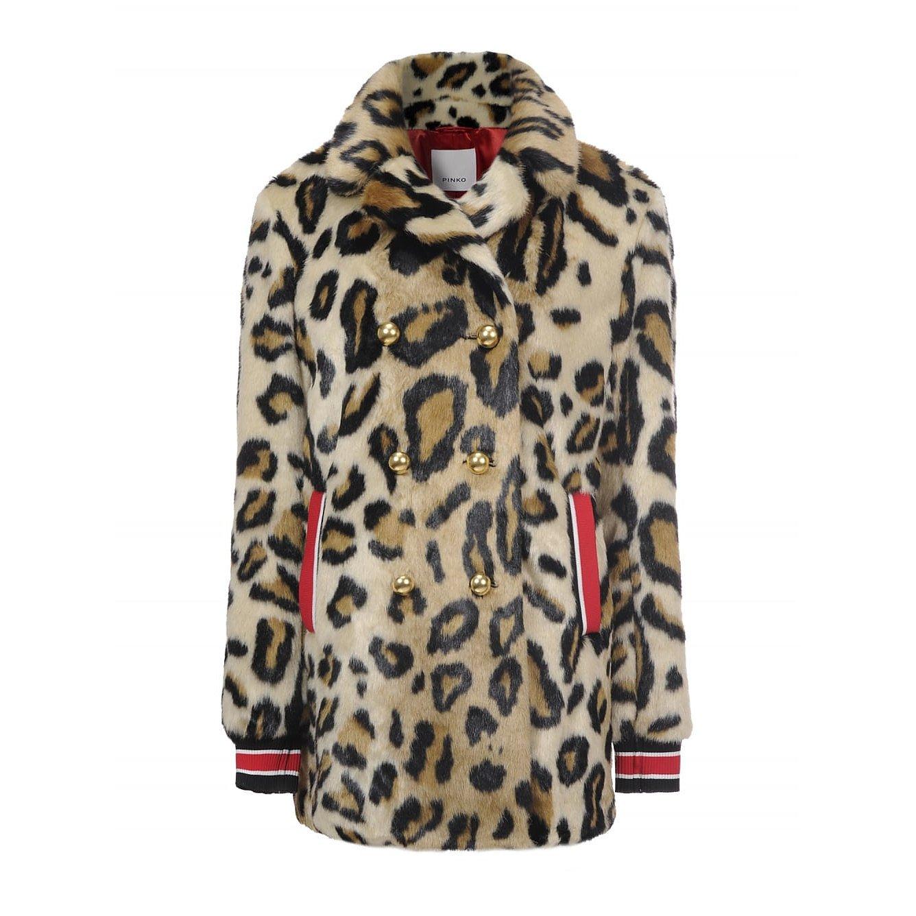 PINKO Delta Kaban Leopard Coat