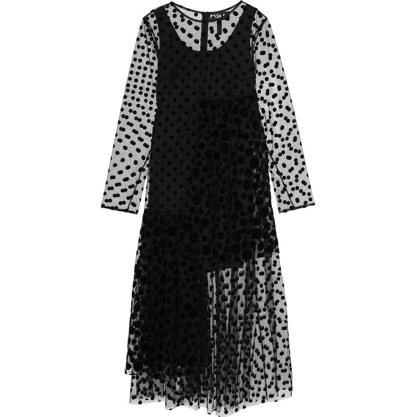 Paskal Sheer Polka-Dot Flocked Tulle Midi Dress