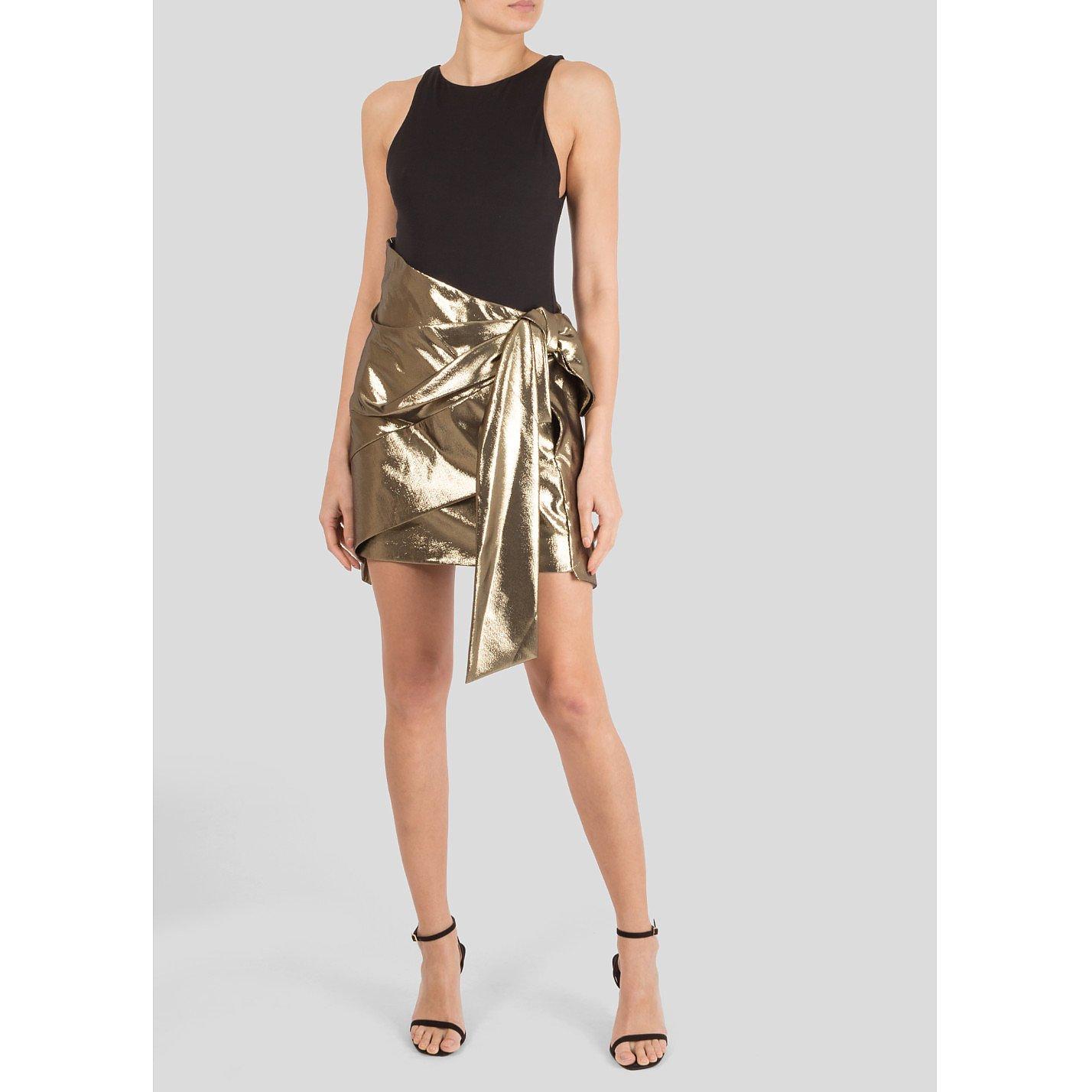 Saint Laurent Bow-Embellished Lamé Mini Skirt