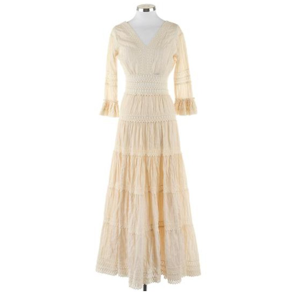 Vintage Embroidered Tiered Maxi Dress
