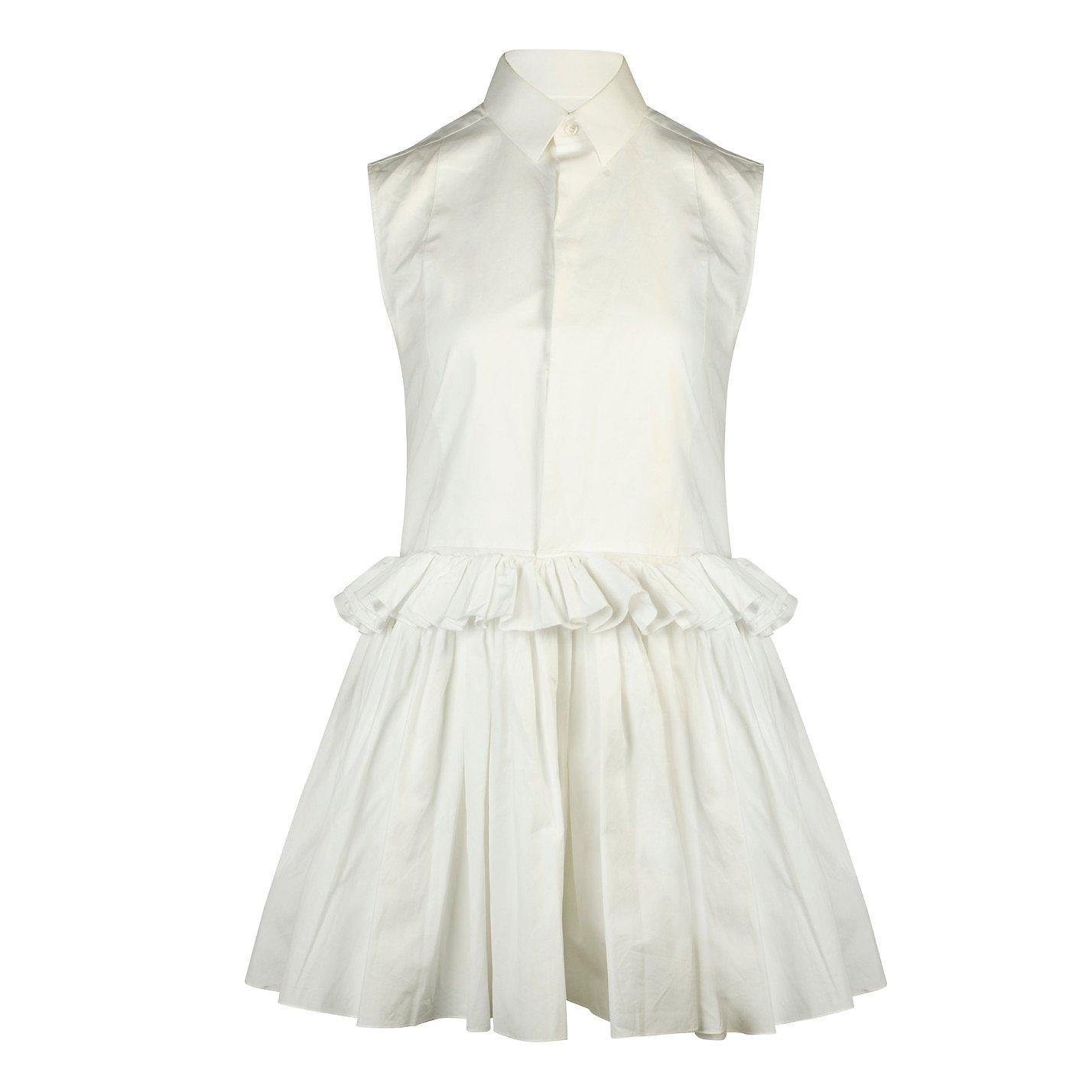 DOLCE & GABBANA Sleeveless Ruffle Mini Shirt Dress