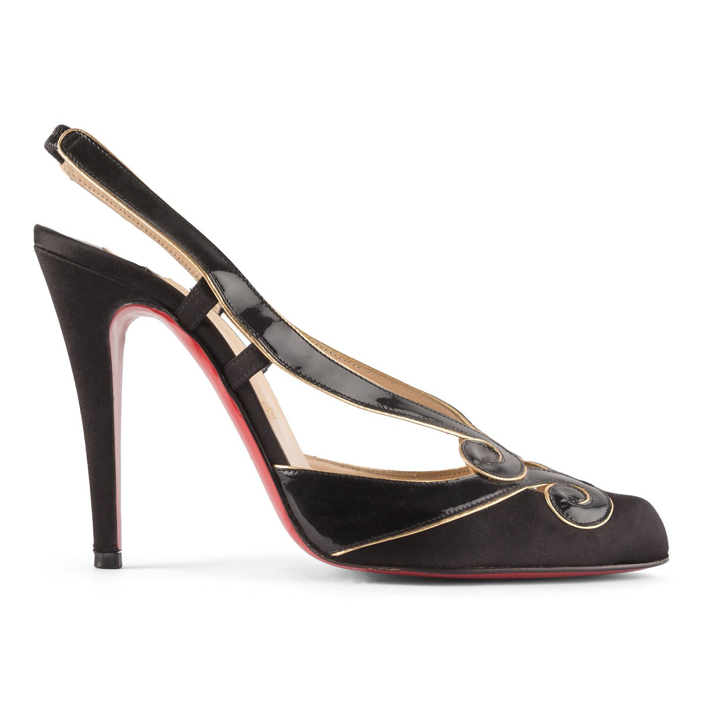 Christian Louboutin Satin and Patent Leather Pumps