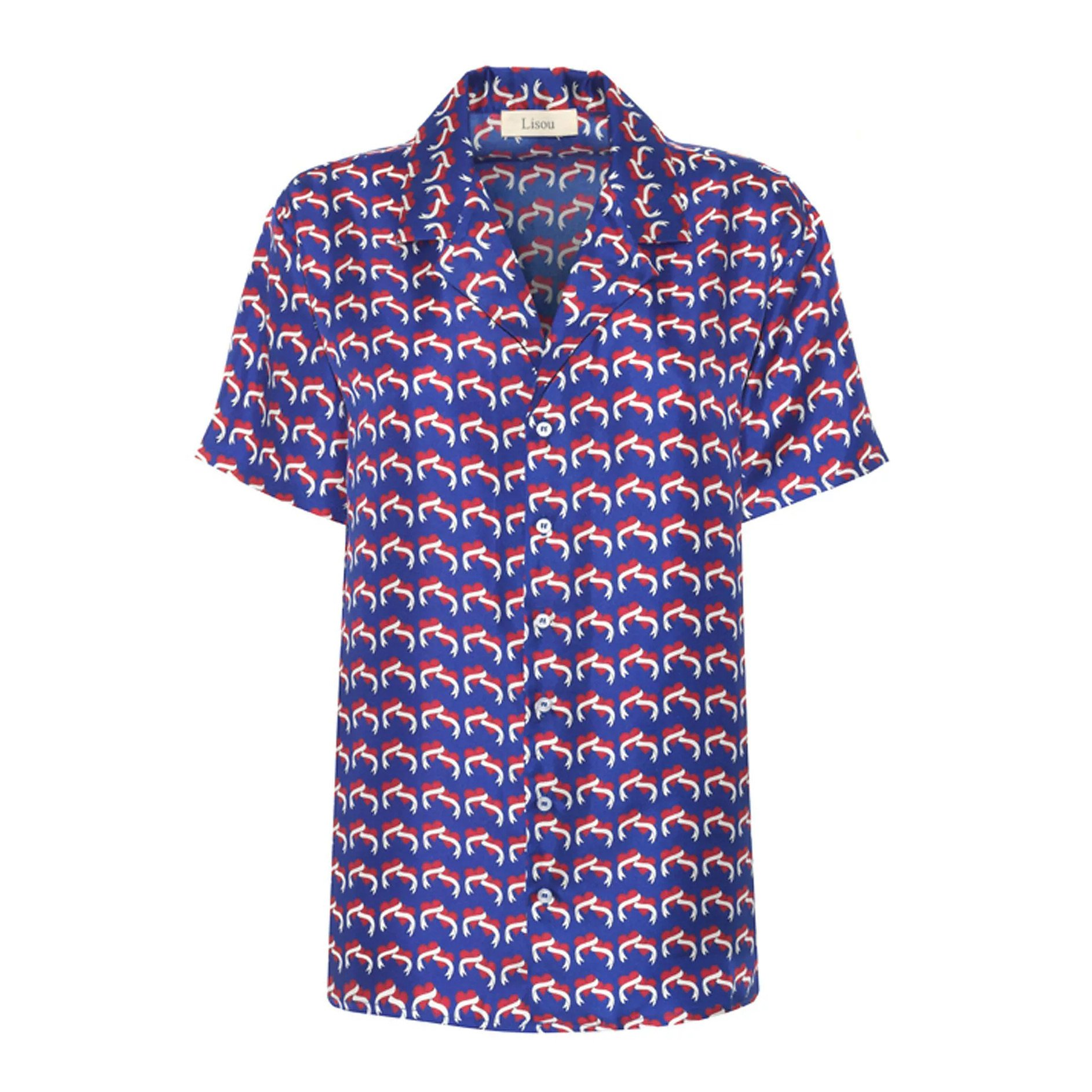 Lisou Victoire Love Heart Blue Silk Shirt
