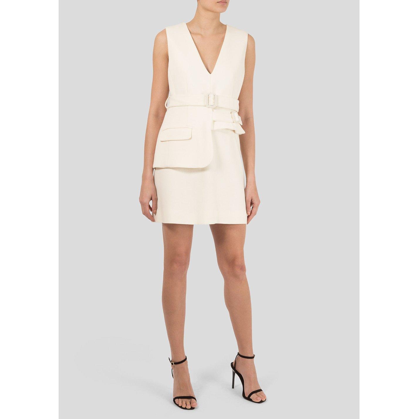 Victoria Beckham Belted Wool Mini Dress
