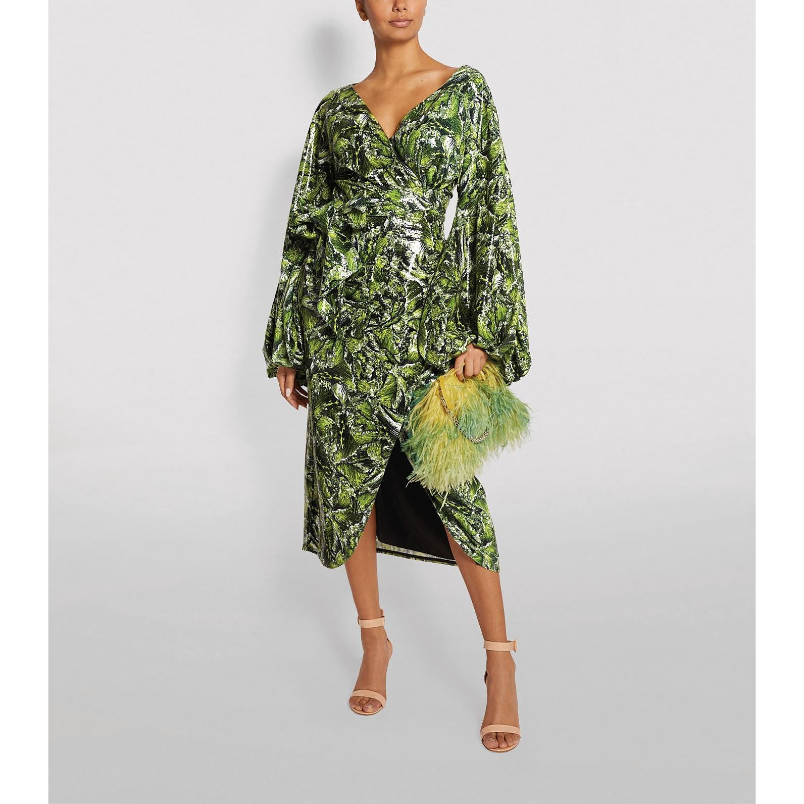 Halpern Embellished Wrap Midi Dress