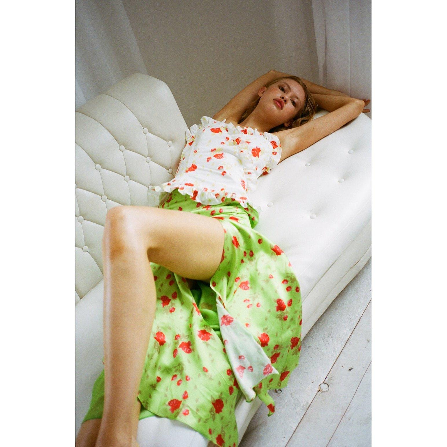 De La Vali Caroline Rose Satin Midi Skirt