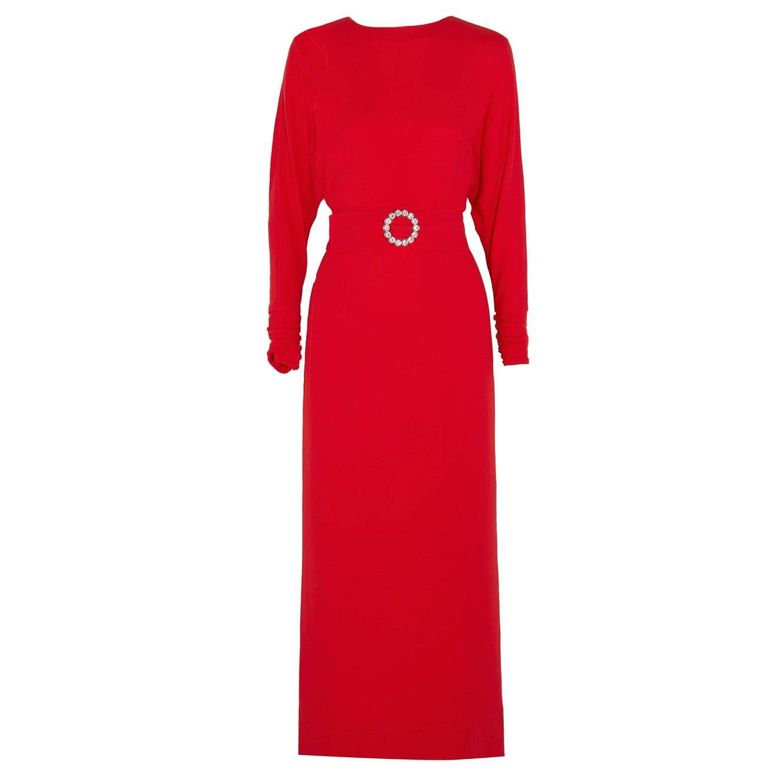 Alessandra Rich Embellished Belted Cady Dress