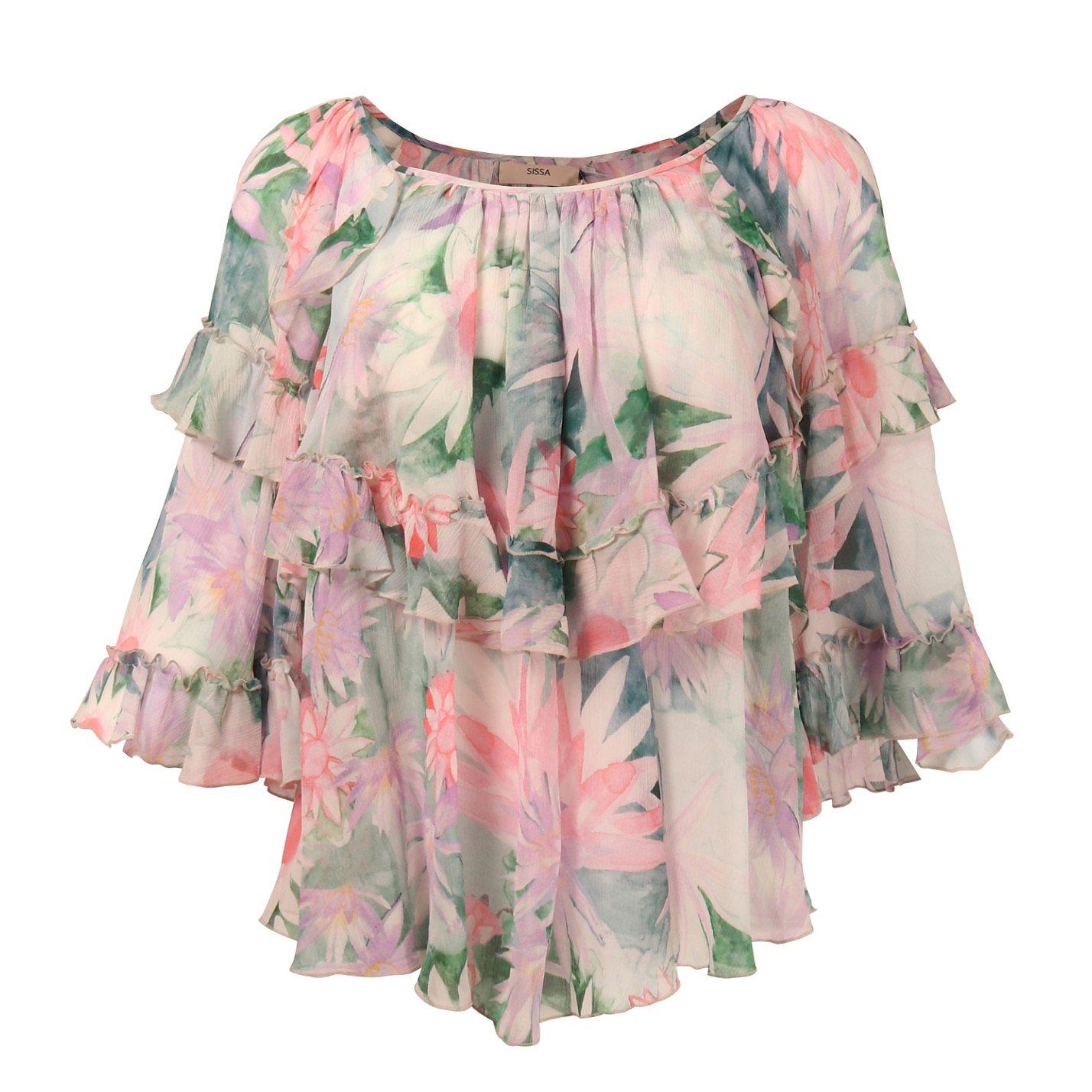 SISSA Floral Ruffled Silk Blouse