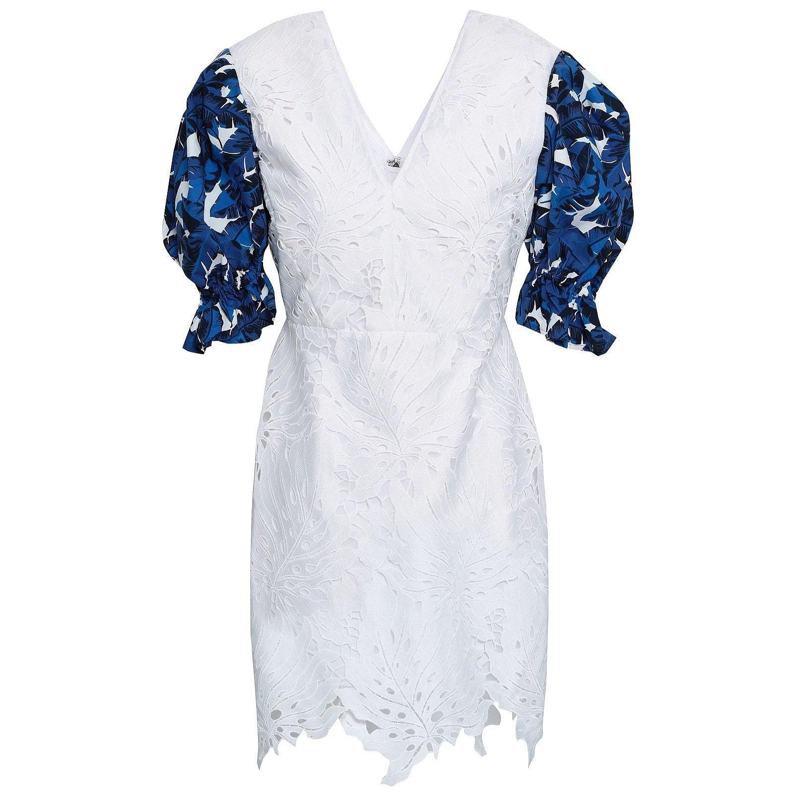 MSGM Contrast-Sleeve Guipure Lace Mini Dress