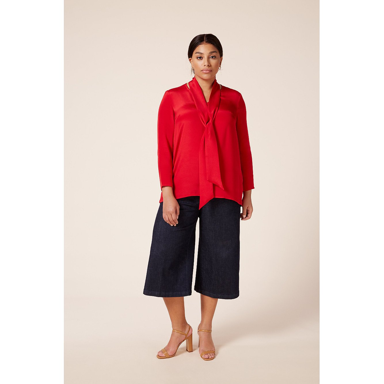 The Hour Scarlet Neck Tie Blouse