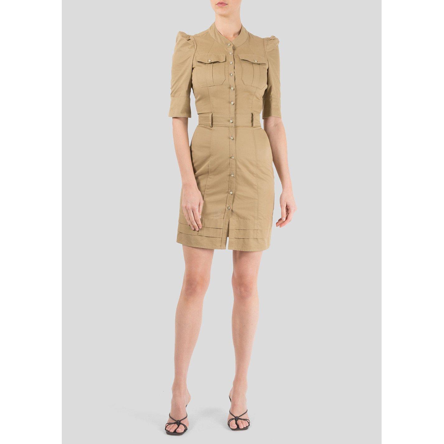 Balenciaga Button Up Cotton Mini Dress
