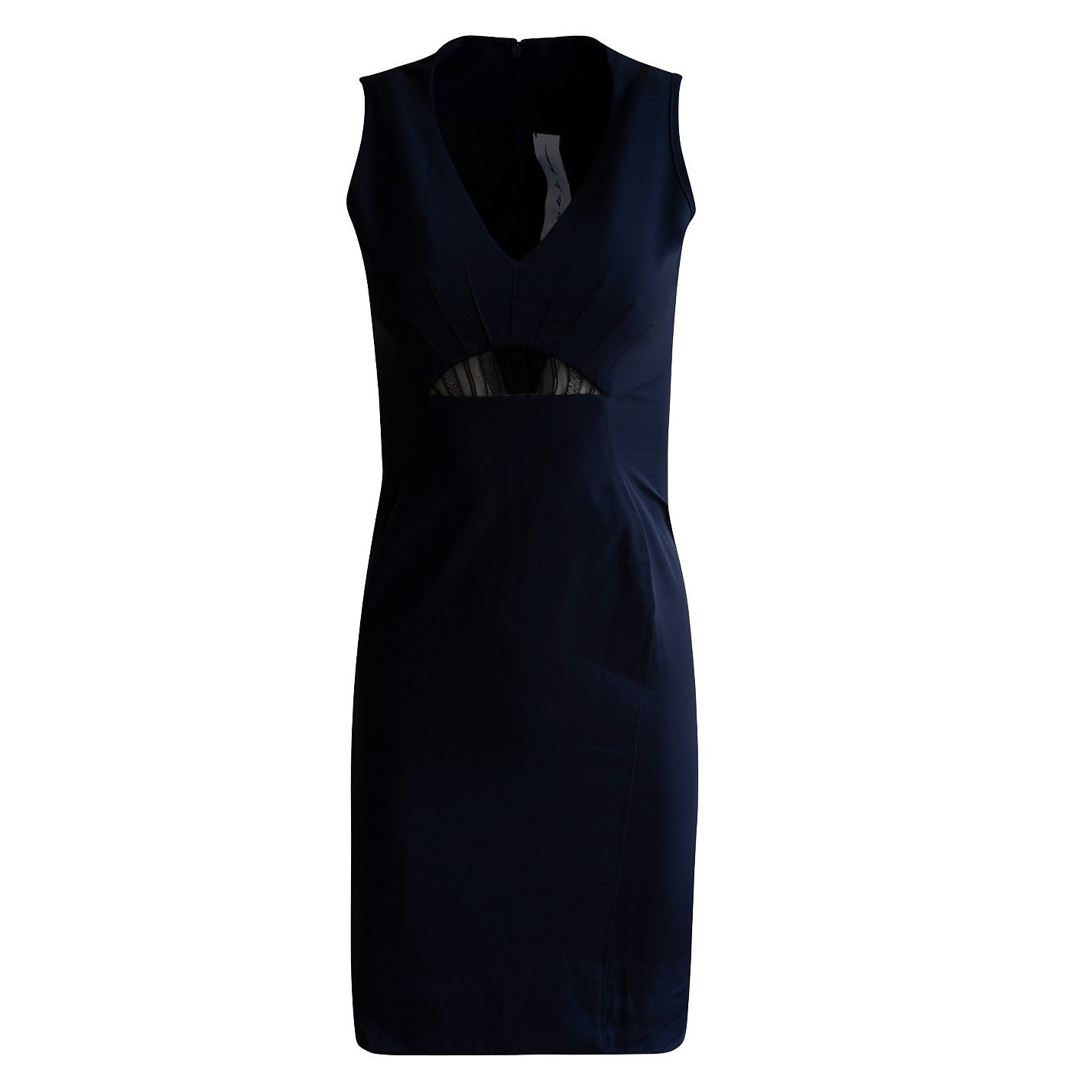 Emilio De La Morena Silk Fitted Dress With Lace Detail