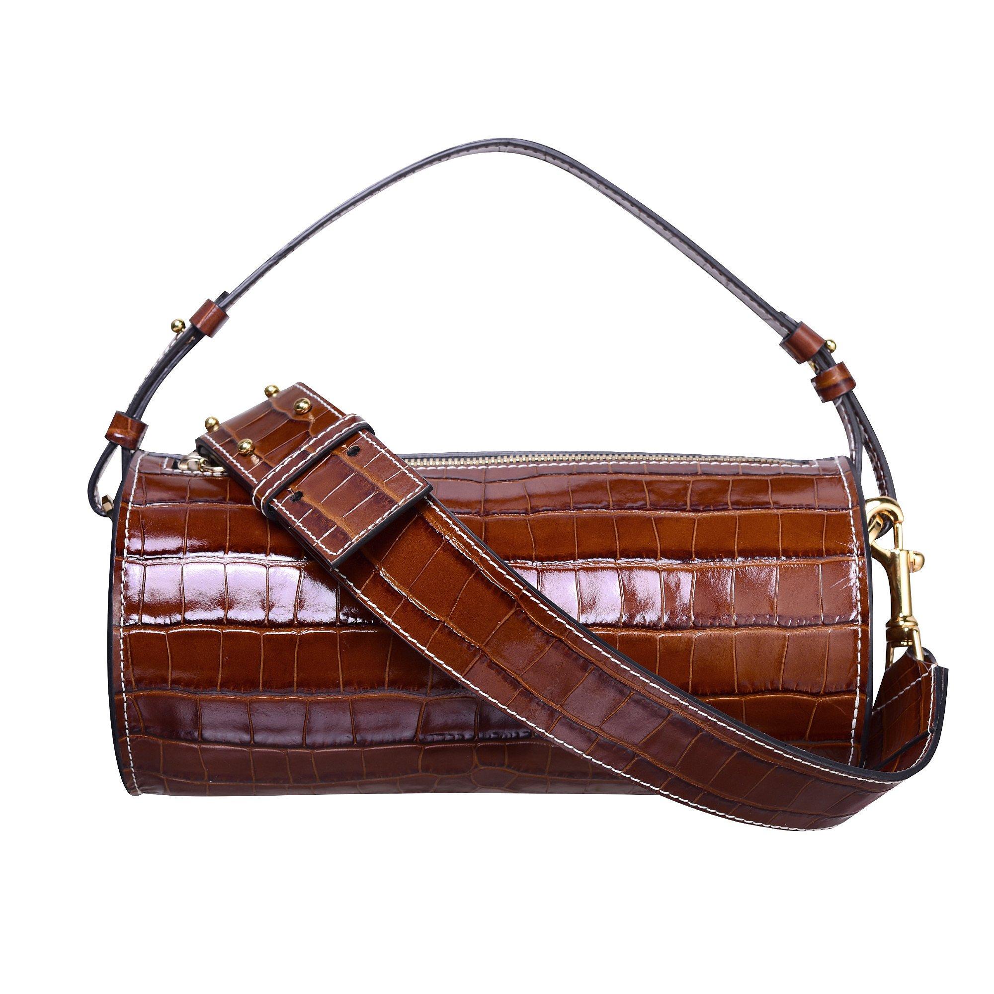 C.Nicol Evie Croc-Stamped Barrel Bag