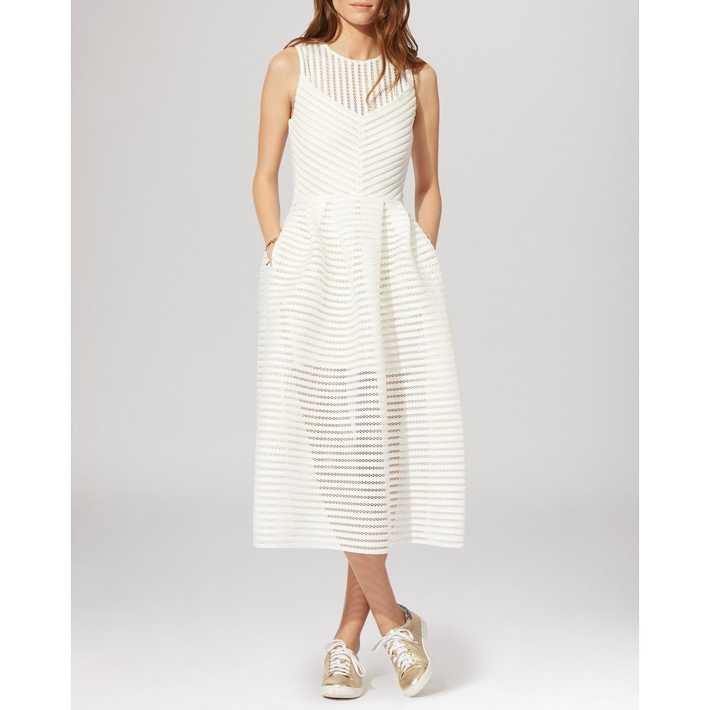 Maje Rire Mesh Stripe Midi Dress