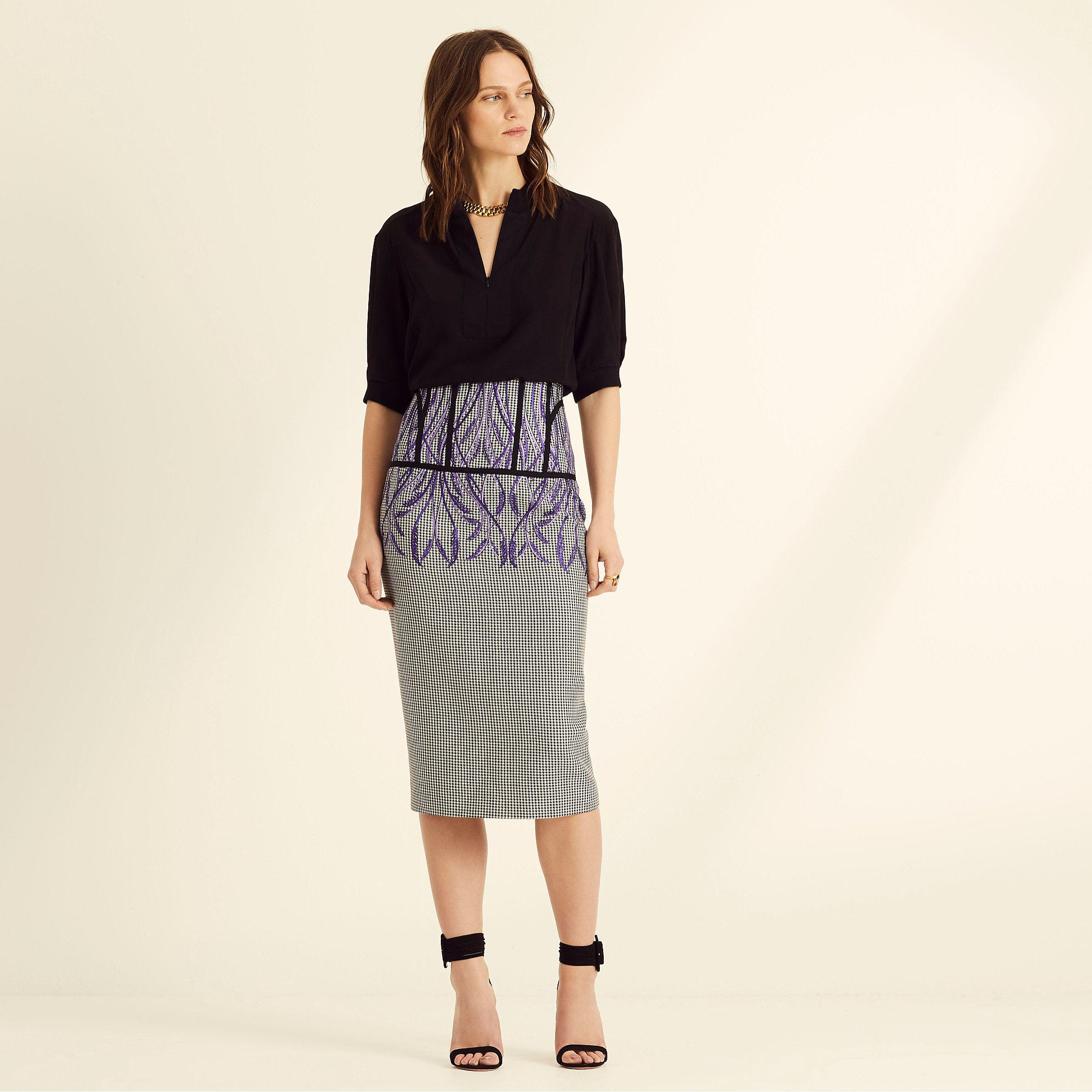 Amanda Wakeley Check Fitted Pencil Skirt