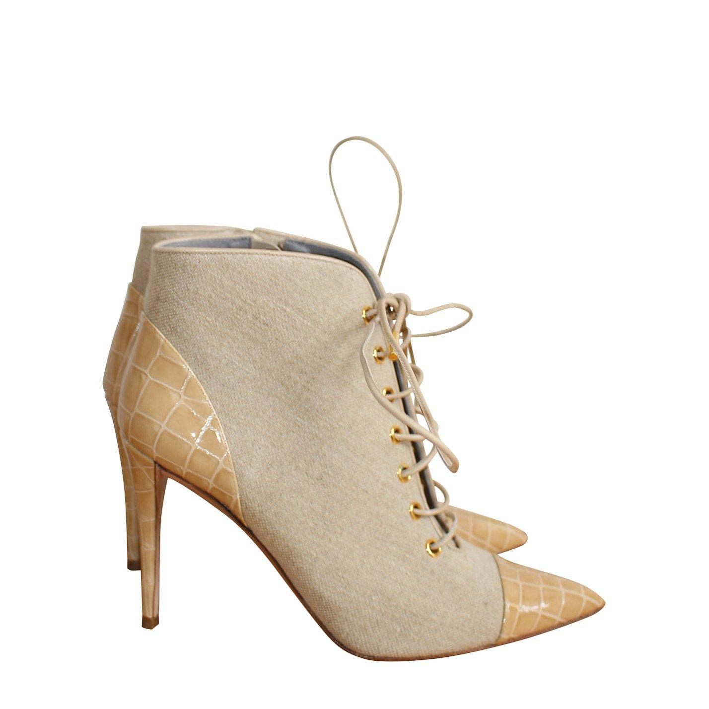 Gina Croc-Detail Heeled Boots