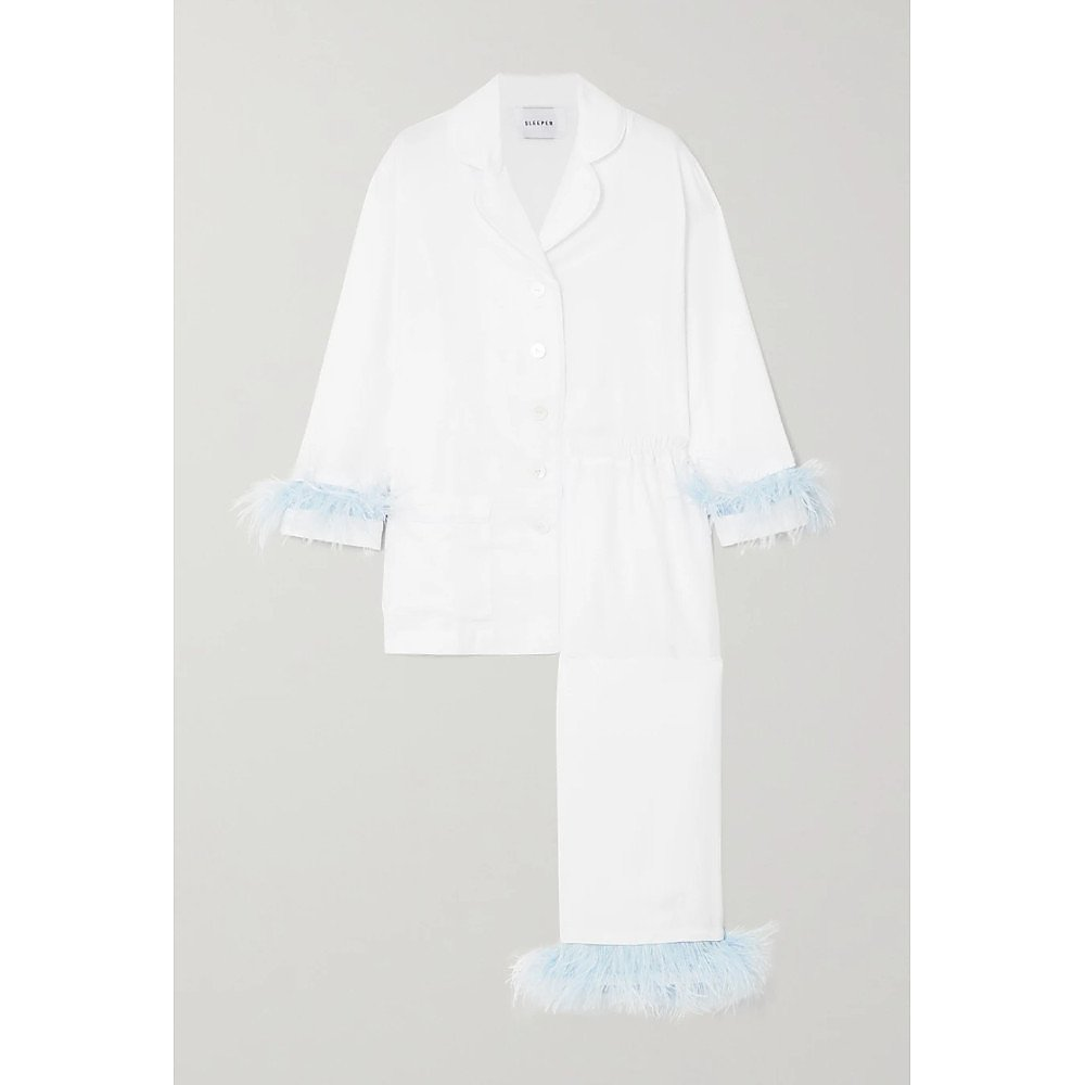 Sleeper Feather-Trimmed Pajama Set