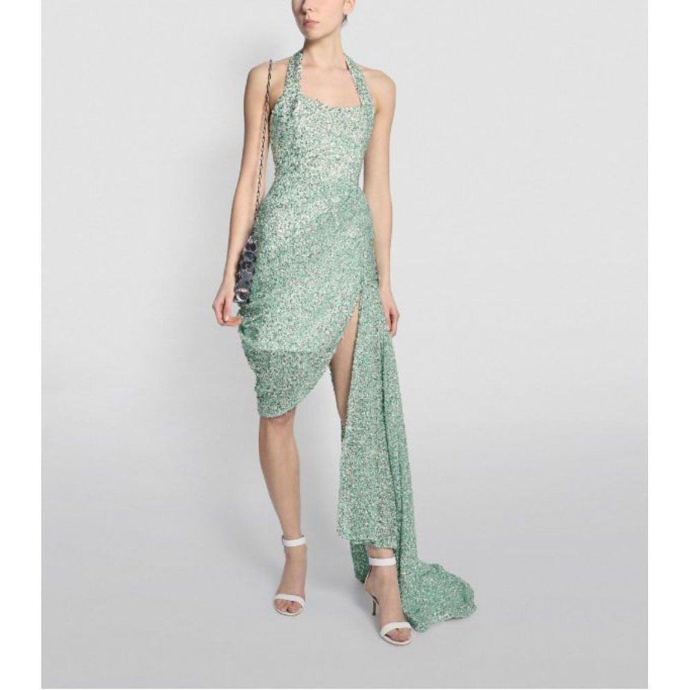 Halpern Embellished Bustier Drape Gown