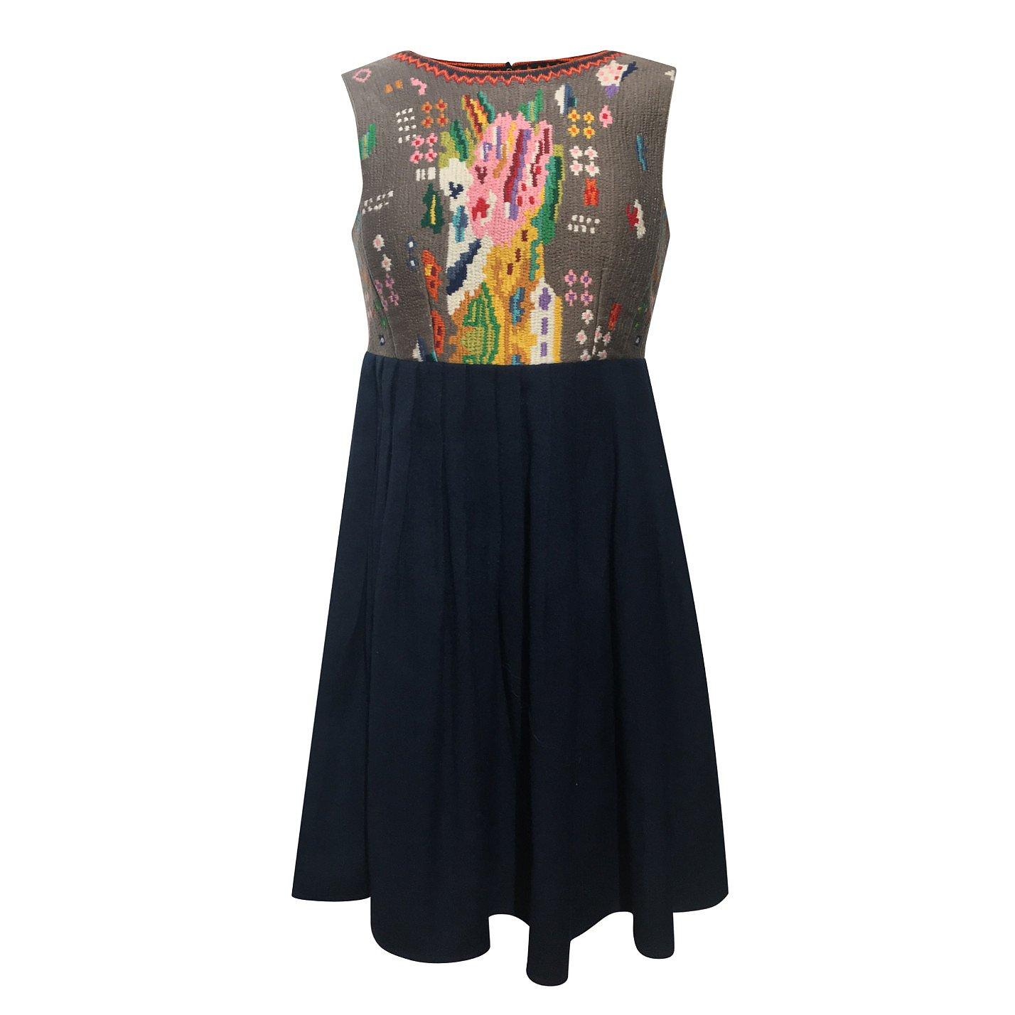 Manoush Sleeveless Embroidered-Bodice Dress