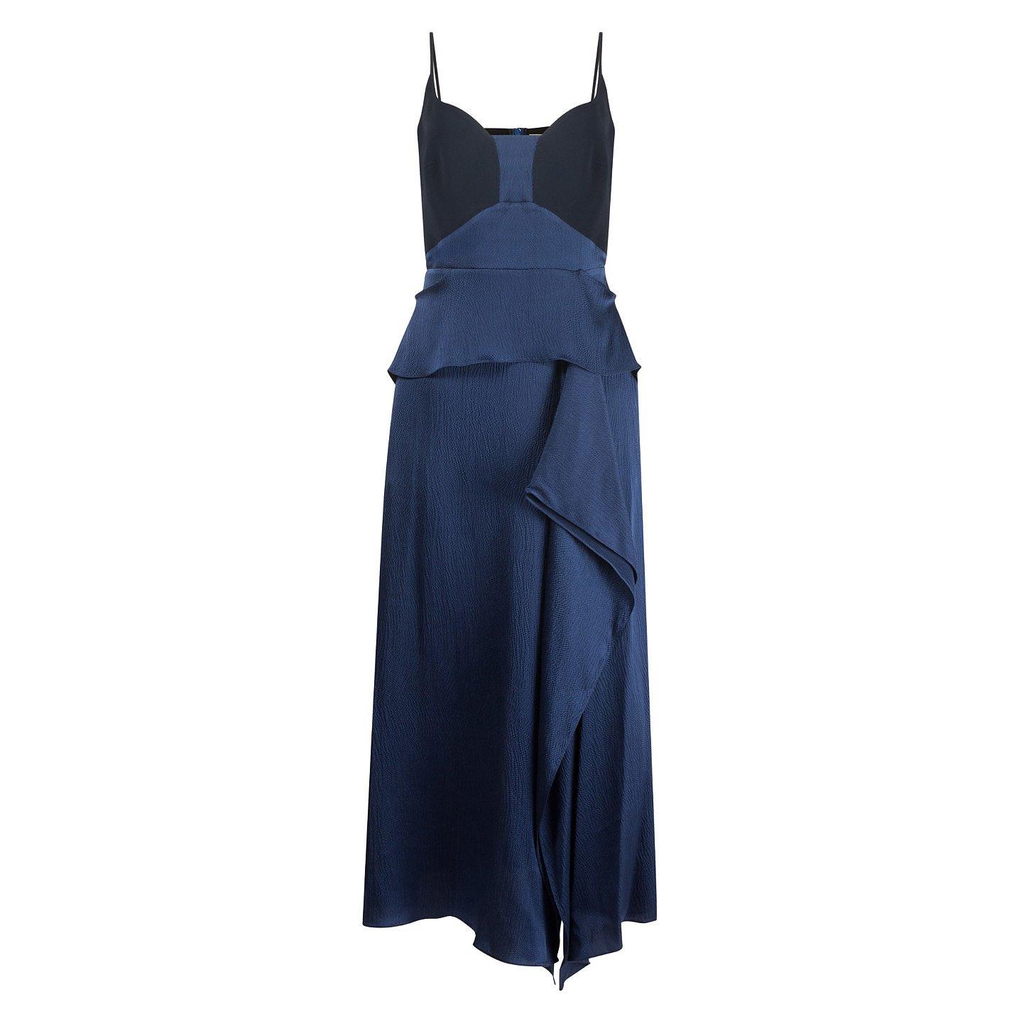 Roland Mouret Hammered Silk-Satin Midi Dress
