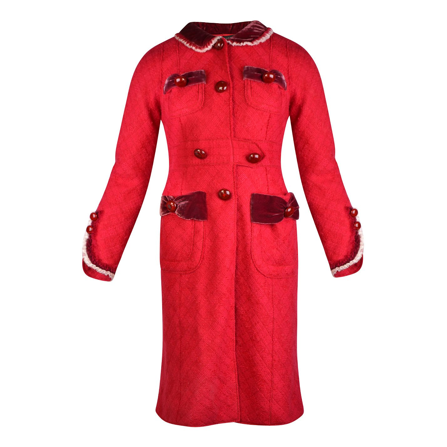 Marc Jacobs Vintage Velvet-Trimmed Wool Coat