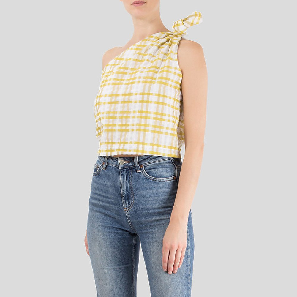 Rosie Assoulin Checked One Shoulder Top