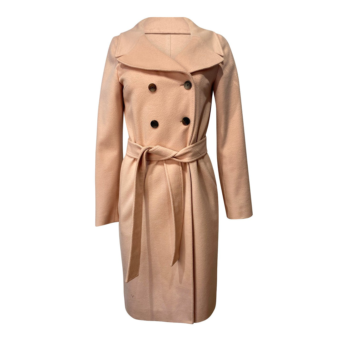 HUGO BOSS Double Breasted Belted Wool Coat