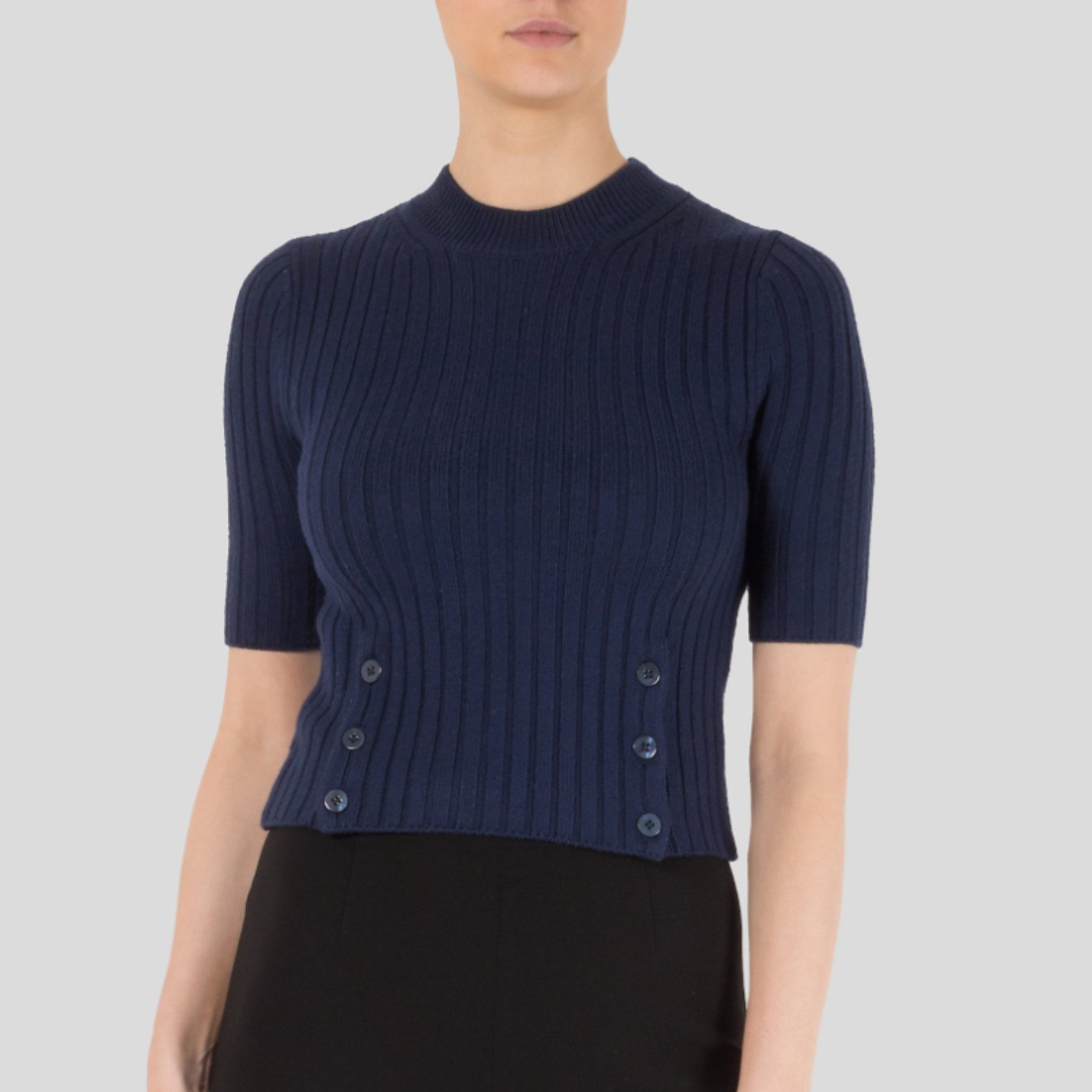 Carven Short Sleeved Ribbed Sweater