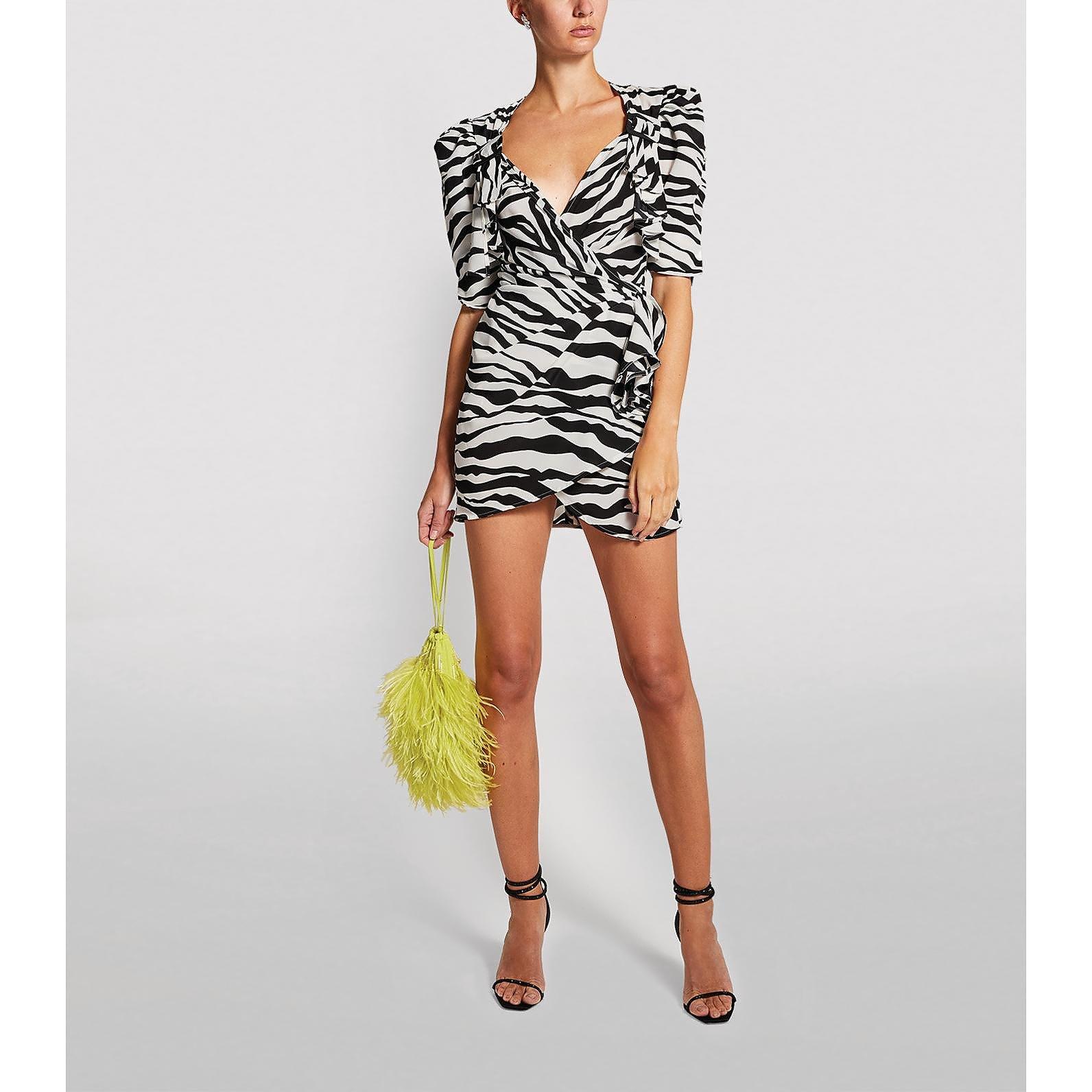 The Attico Zebra Wrap Mini Dress