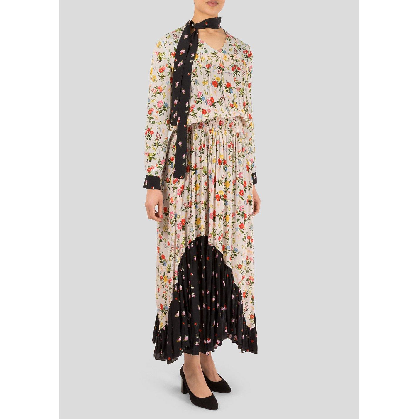 Preen Line Solange Floral Print Crepe Dress
