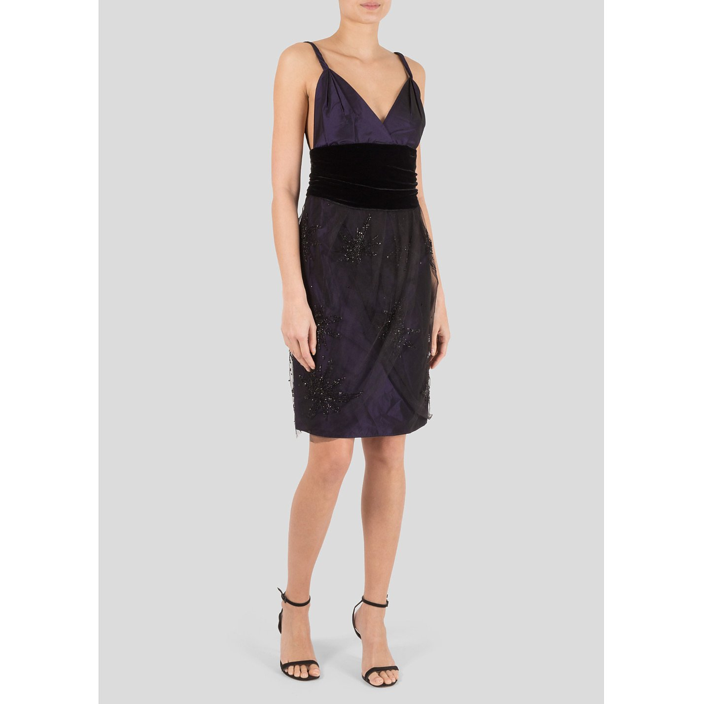 Emporio Armani Embellished Tulle And Velvet Dress