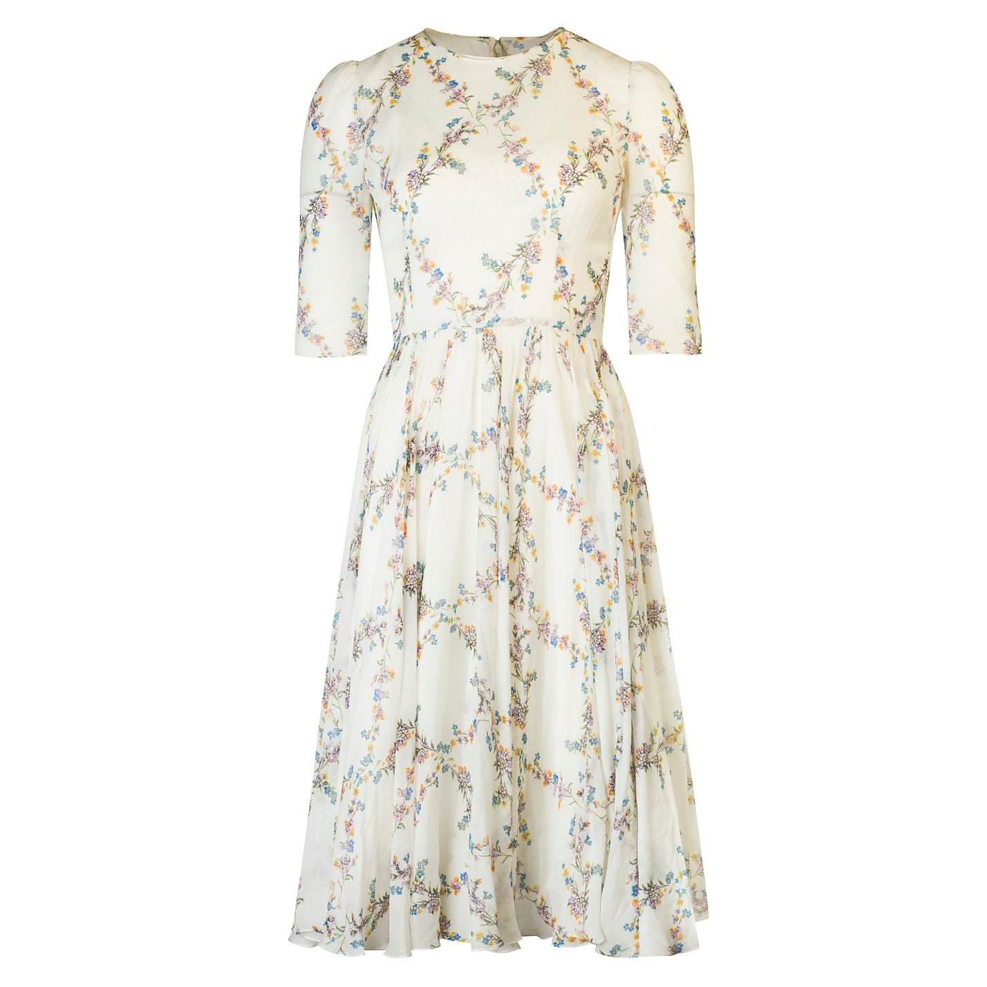DOLCE & GABBANA Floral Print Silk Midi Dress