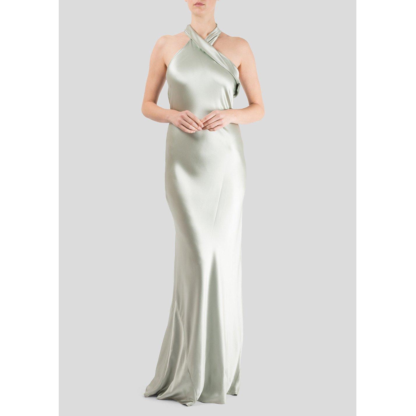Galvan London Pandora Halter Neck Silk Satin Gown