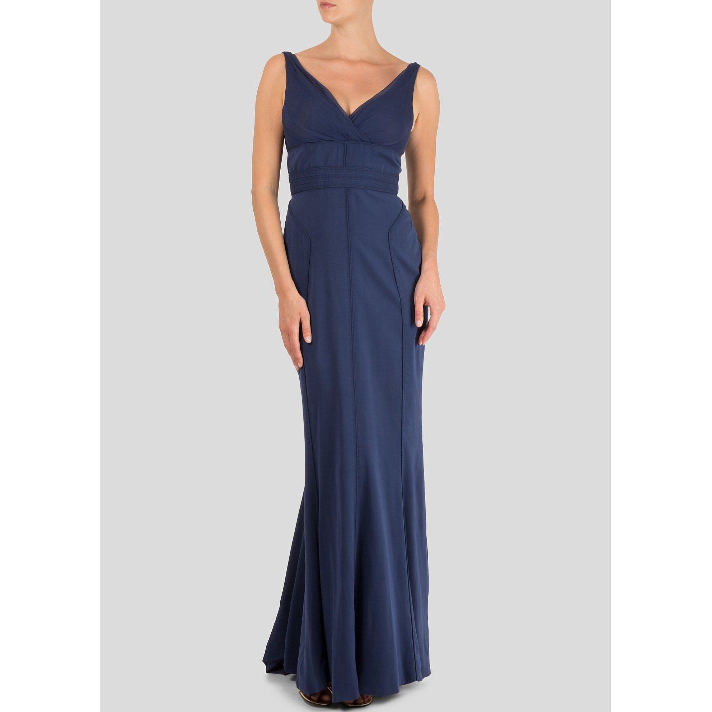Zac Posen Sleeveless Topstiched Silk Gown