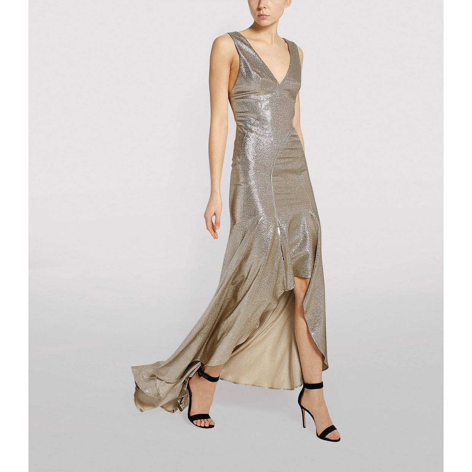 Galvan London Metallic Releve Dress