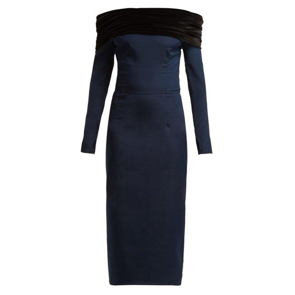 Emilio De La Morena Bonded Silk Off-The-Shoulder Dress