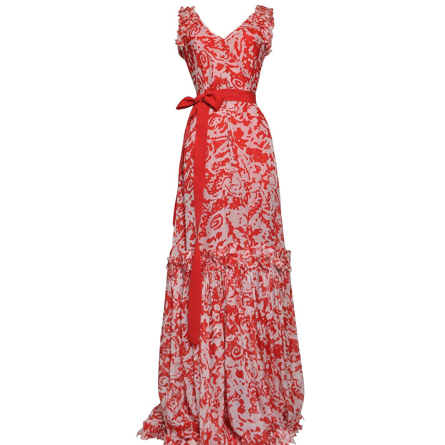 Carolina Herrera Printed Belt-Detail Maxi Dress