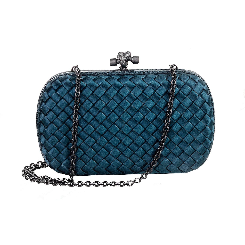 Bottega Veneta Chain Knot Satin Clutch Blue