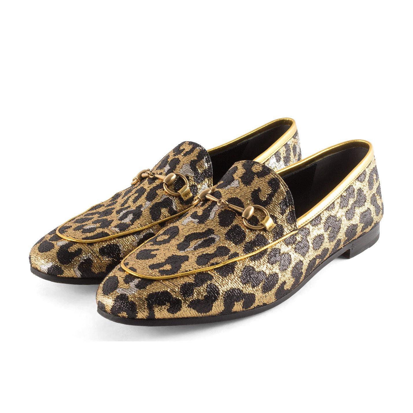 Gucci Leopard Print Metallic Loafers