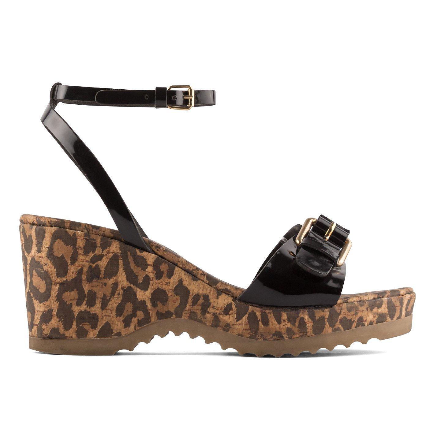 Stella McCartney Linda Leopard Print Cork Wedge Sandals